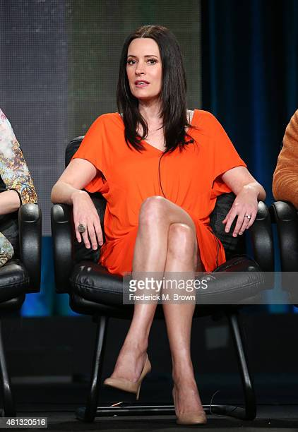 Actress Paget Brewster speaks onstage during the 'Another Period' panel at the Comedy Central portion of the 2015 Winter Television Critics...