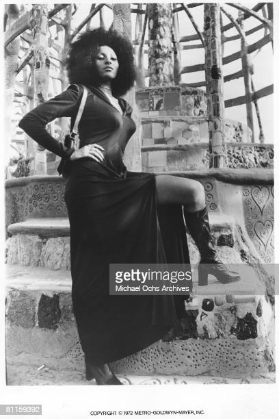 Actress Pam Grier poses for a publicity photo for her movie 'Hit Man' circa 1972 in Los Angeles California