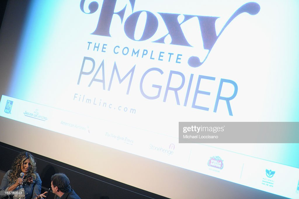 Actress <a gi-track='captionPersonalityLinkClicked' href=/galleries/search?phrase=Pam+Grier&family=editorial&specificpeople=227048 ng-click='$event.stopPropagation()'>Pam Grier</a> (L) speaks onstage at the 'Foxy, The Complete <a gi-track='captionPersonalityLinkClicked' href=/galleries/search?phrase=Pam+Grier&family=editorial&specificpeople=227048 ng-click='$event.stopPropagation()'>Pam Grier</a>' Film Series at Walter Reade Theater on March 15, 2013 in New York City.