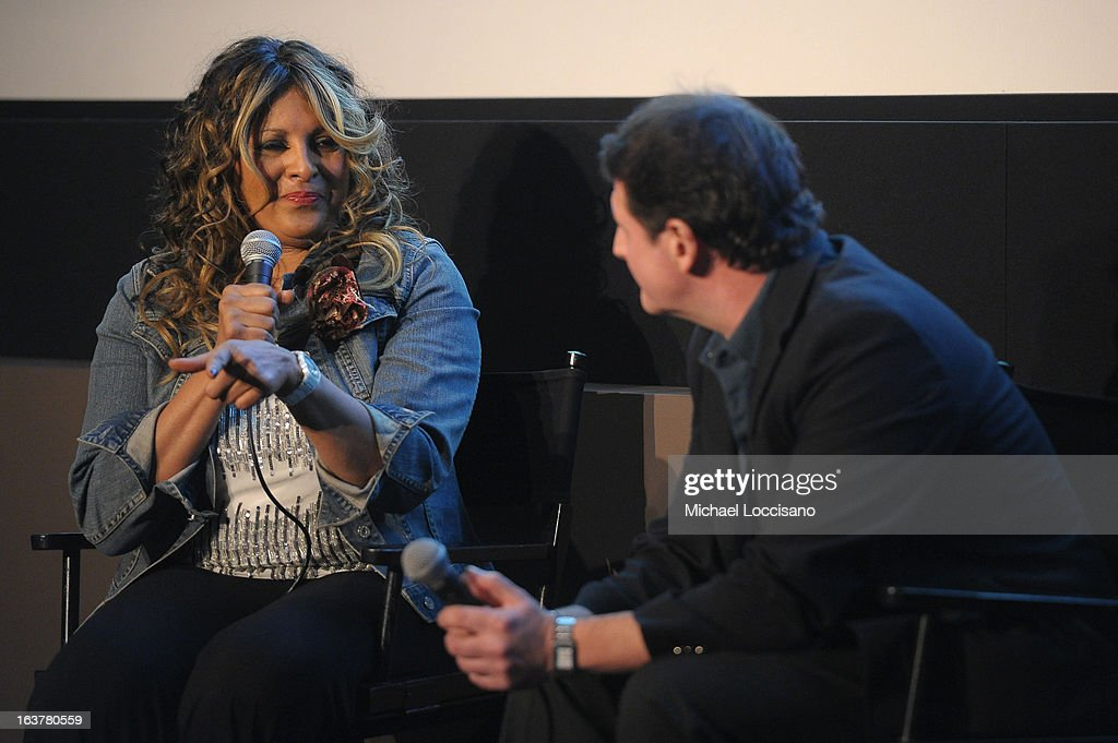 Actress Pam Grier (L) speaks onstage at the 'Foxy, The Complete Pam Grier' Film Series at Walter Reade Theater on March 15, 2013 in New York City.