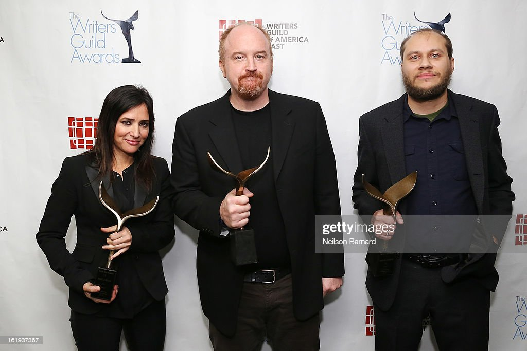 Actress Pamela Adlon, comedian <a gi-track='captionPersonalityLinkClicked' href=/galleries/search?phrase=Louis+C.K.&family=editorial&specificpeople=2538284 ng-click='$event.stopPropagation()'>Louis C.K.</a>, and writer Vernon Chatman pose backstage at the 65th annual Writers Guild East Coast Awards at B.B. King Blues Club & Grill on February 17, 2013 in New York City.