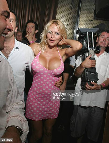 Actress Pamela Anderson after she performed on stage at a Pussycat Doll performance held at the Key Club August 13 2003 in Hollywood California