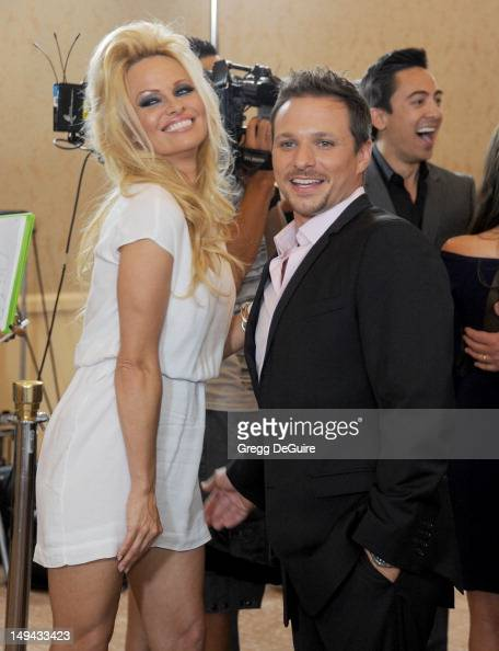 Actress Pamela Anderson and Drew Lachey arrive at the 2012 Disney ABC Television TCA summer press tour party at The Beverly Hilton Hotel on July 27...