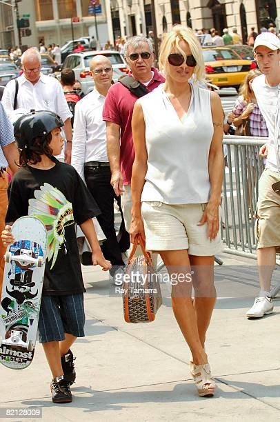 Actress Pamela Anderson and her son Dylan Jagger Lee walk in Midtown Manhattan on July 30 2008 in New York City