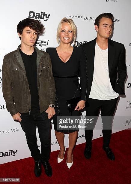 Actress Pamela Anderson and her sons Brandon Thomas Lee and Dylan Jagger Lee attend the Daily Front Row 'Fashion Los Angeles Awards' at Sunset Tower...