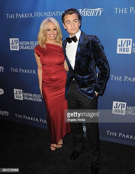 Actress Pamela Anderson and son Brandon Thomas attend the 5th Annual Sean Penn Friends HELP HAITI HOME Gala benefiting J/P Haitian Relief...