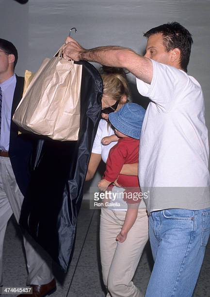 Actress Pamela Anderson and son Dylan arrive from New York City on September 23 1998 at the Los Angeles International Airport in Los Angeles...