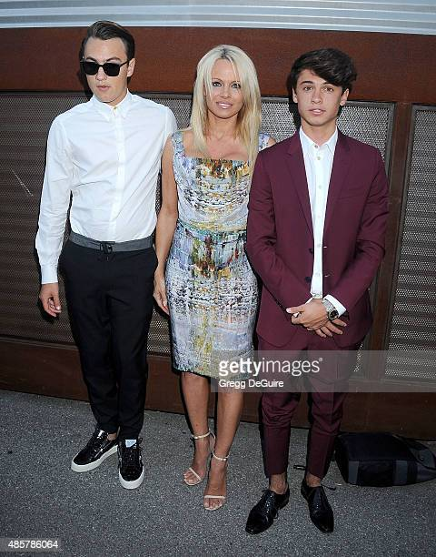 Actress Pamela Anderson and sons Brandon Thomas Lee and Dylan Jagger Lee arrive at The Hidden Heroes Gala presented by Mercy For Animals at Unici...