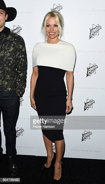 Actress Pamela Anderson arrives at Stella McCartney Autumn 2016 Presentation at Amoeba Music on January 12 2016 in Los Angeles California