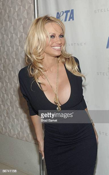 Actress Pamela Anderson arrives to the PETA's Fashion Week Bash at Stella Mccartney on February 03 2006 in New York City