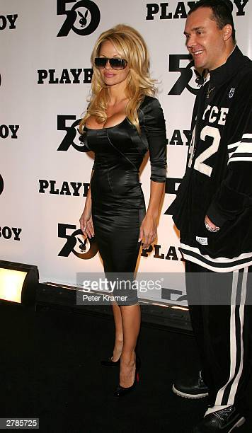 Actress Pamela Anderson at the Playboy 50th Anniversary celebration December 4 2003 in New York City