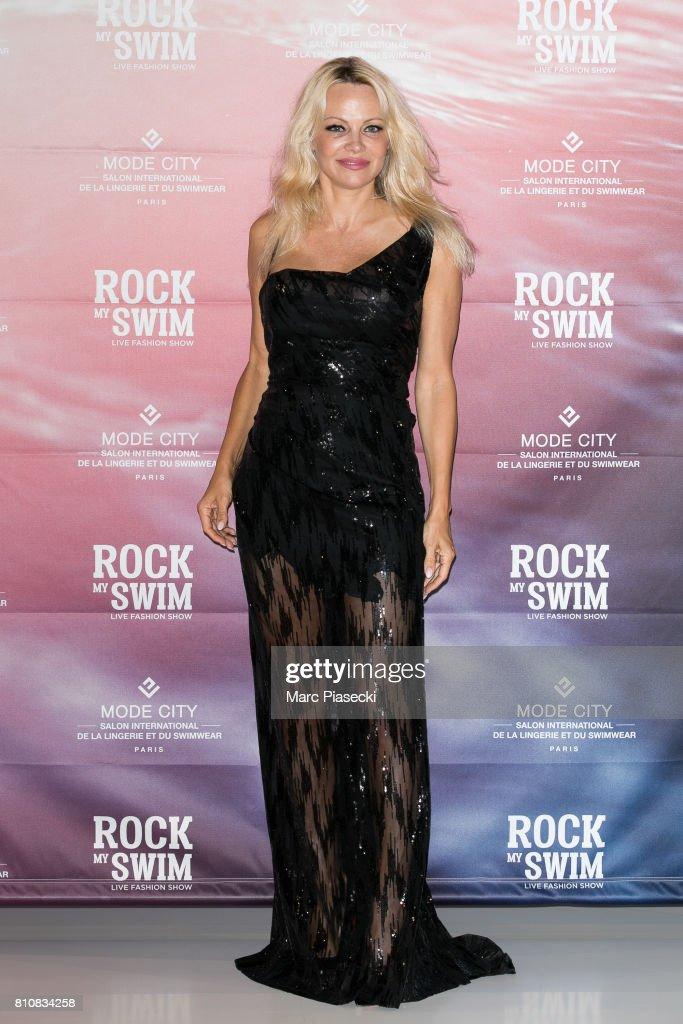Actress Pamela Anderson attends te 'Rock My Swim' fashion show by Mode City Paris at Parc des Expositions Porte de Versailles on July 8, 2017 in Paris, France.