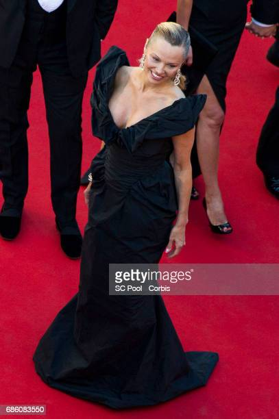 Actress Pamela Anderson attends the '120 Beats Per Minute ' premiere during the 70th annual Cannes Film Festival at Palais des Festivals on May 20...