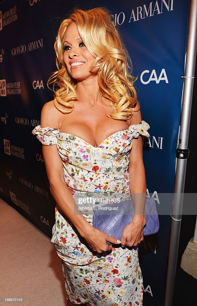 Actress Pamela Anderson attends the 2nd Annual Sean Penn and Friends Help Haiti Home Gala benefiting J/P HRO presented by Giorgio Armani at Montage Hotel on January 12, 2013 in Los Angeles, California.