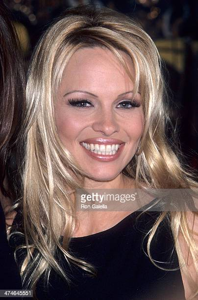Actress Pamela Anderson attends the cast of 'VIP' donates costumes from the show to Planet Hollywood on February 5 1999 at Planet Hollywood California