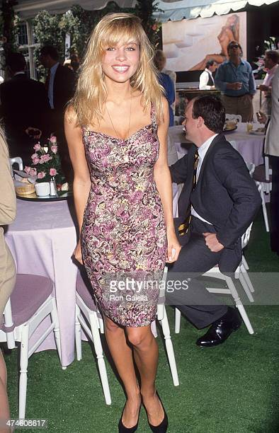 Actress Pamela Anderson attends the Playboy's Playmate of the Year Celebration on April 25 1991 at the Playboy Mansion in Holmby Hills California