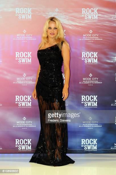 Actress Pamela Anderson attends the 'Rock My Swim' fashion show by Mode City Paris at Parc des Expositions Porte de Versailles on July 8 2017 in...