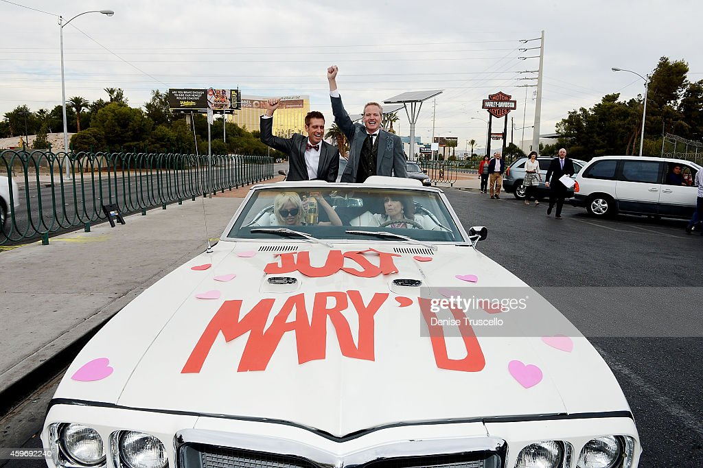 Actress Pamela Anderson, musician Chrissie Hynde of the Pretenders, production designer Jack Ryan and Senior Vice President of media campaigns for PETA Dan Mathews drive away after the wedding of Dan Mathews and Jack Ryan at the Welcome to Fabulous Las Vegas sign on November 27, 2014 in Las Vegas, Nevada.