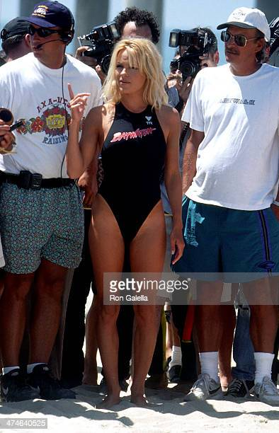 Actress Pamela Anderson on the set of 'Baywatch' on August 28 1996 in Huntington Beach California