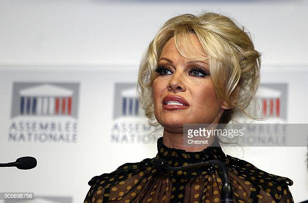US actress Pamela Anderson talks to the media during a press conference at the French National Assembly on January 19 2016 in Paris France Pamela...