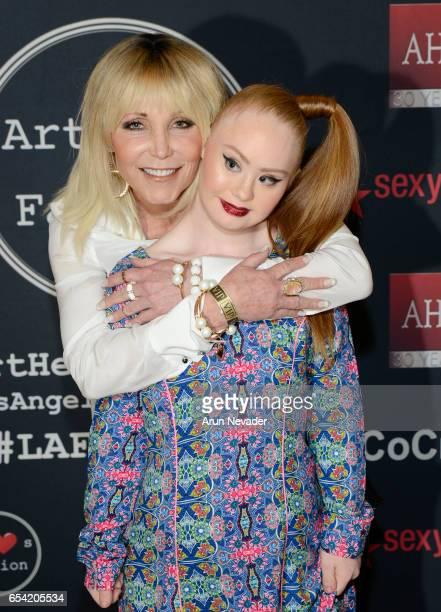 Actress Pamela BachHasselhoff and designer/model Madeline Stuart attend Art Hearts Fashion LAFW Fall/Winter 2017 Day 2 at The Beverly Hilton Hotel on...