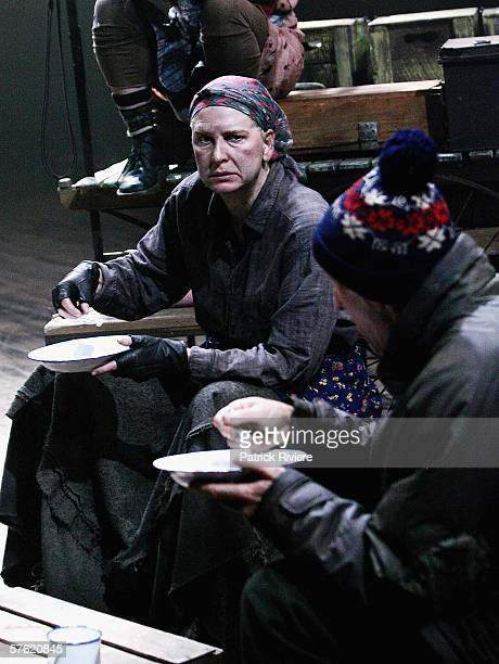 Actress Pamela Rabe performs during a media call for 'Mother Courage And Her Children' at the Sydney Theatre Company on May 16 2006 in Sydney...