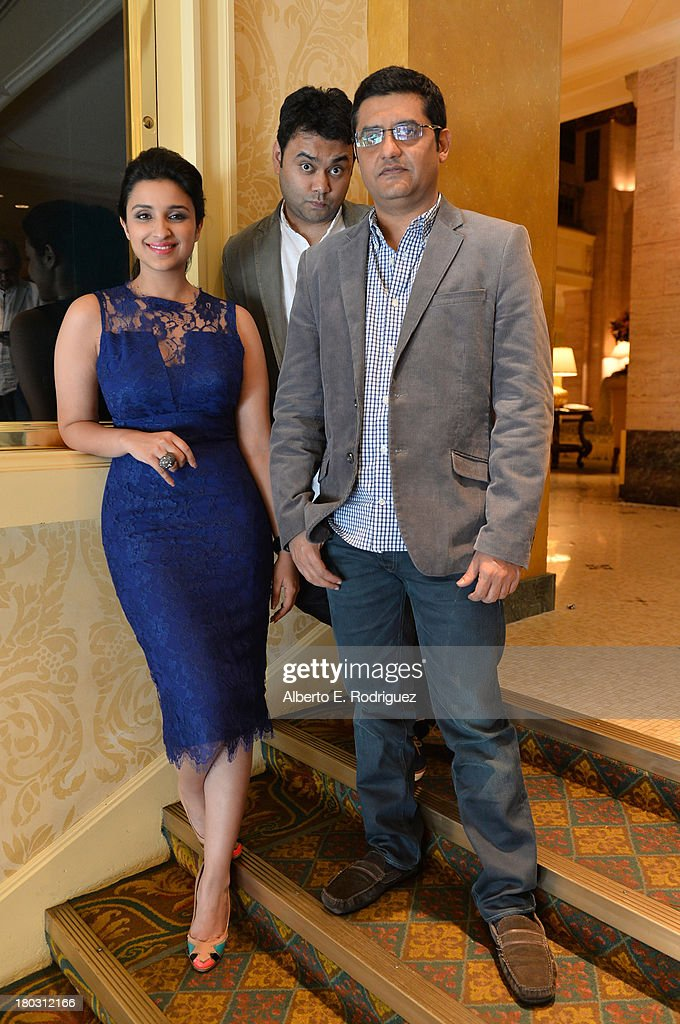 Actress Parineeti Chopra, Director Maneesh Sharma and writer Jaideep Sahni from the India's 'A Random Desi Romance' cast prepare for the 2013 Toronto International Film Festival Premiere at Fairmont Royal York on September 11, 2013 in Toronto, Canada.