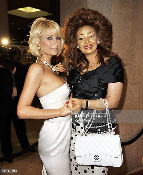 Actress Paris Hilton and Cameroon First Lady Chantal Biya pose at the US Doctors for Africa honoring the First Ladies of Africa Gala at the Beverly...