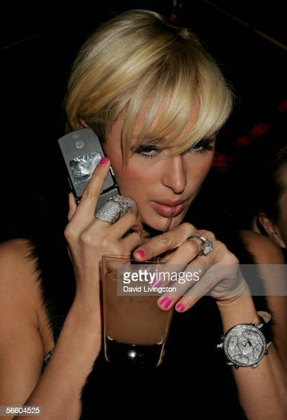 Actress Paris Hilton attends the Weinstein Co Golden Globe after party held at Trader Vic's on January 16 2006 in Beverly Hills California