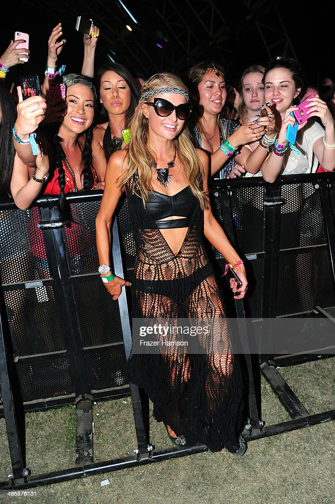 Actress Paris Hilton attends Zedd performance during day 1 of the 2014 Coachella Valley Music Arts Festival at the Empire Polo Club on April 18 2014...