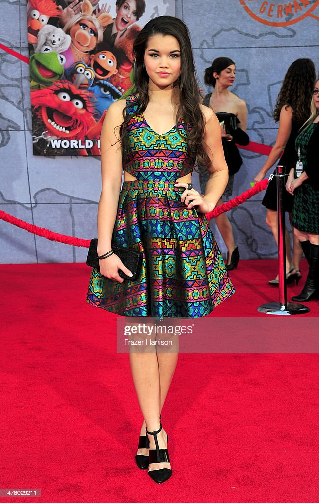 Actress Paris MaryJo Berelc arrives at the premiere Of Disney's 'Muppets Most Wanted' at the El Capitan Theatre on March 11, 2014 in Hollywood, California.