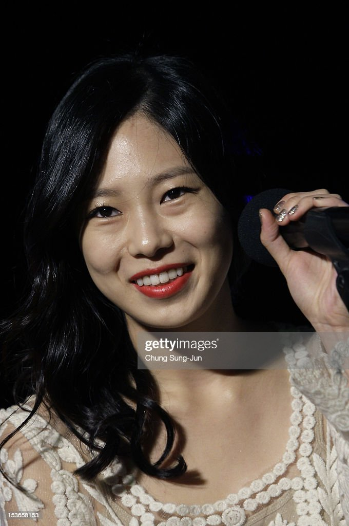 Actress Park Ji-Su attends the outdoor greeting for 'Mai Ratima' during the 17th Busan International Film Festival (BIFF) at Haeundae beach on October 8, 2012 in Busan, South Korea. The biggest film festival in Asia showcases 304 films from 75 countries and runs from October 04 until October 13..