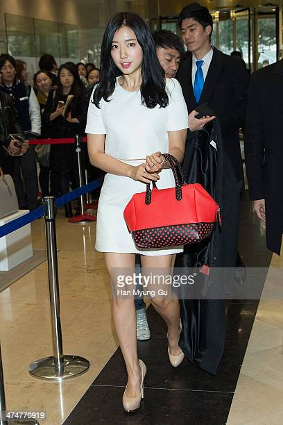 Actress Park ShinHye attends the autograph session for Bruno Magli at Lotte Department Store on February 25 2014 in Seoul South Korea