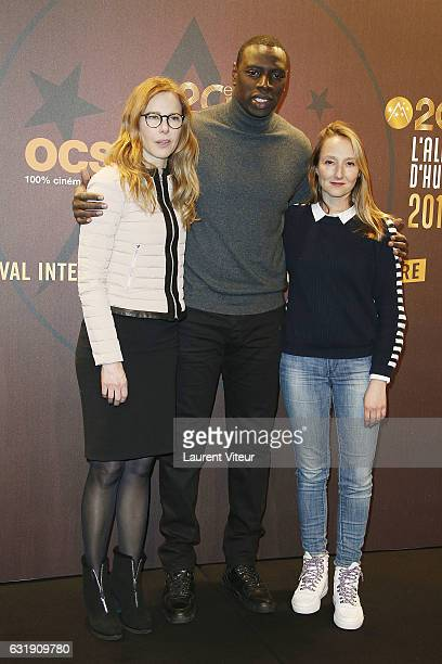 Actress Pascale Arbillot Actor Omar Sy and Actress Audrey Lamy attend the 20th L'Alpe D'Huez International Comedy Film Festival Opening Ceremony on...