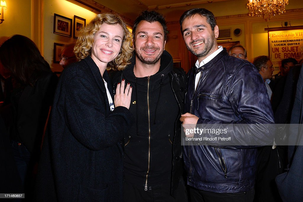 Actress Pascale Arbillot, Humorist Michael Youn and director Eric Toledano attend the Ary Abittan performance at Theater Edouard VII benefiting 'Un Coeur Pour La Paix' on June 24, 2013 in Paris, France.