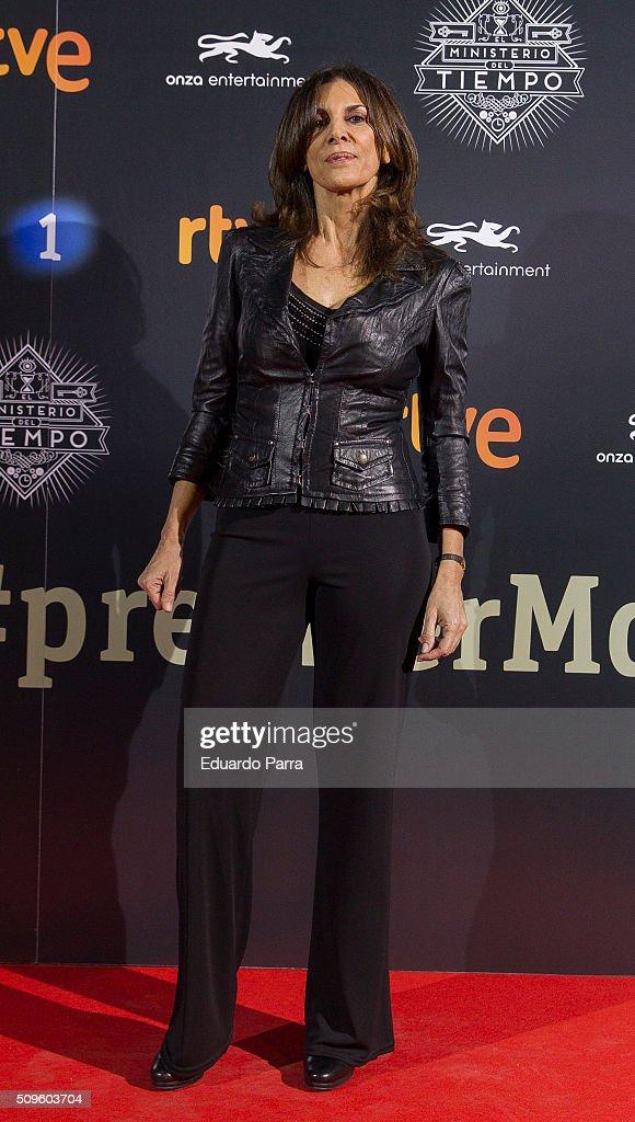 Actress Pastora Vega attends 'El Ministerio del Tiempo' second season premiere at Capitol cinema on February 11, 2016 in Madrid, Spain.