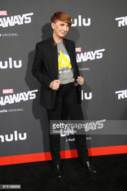 Actress Pat Lentz arrives at the premiere of Hulu's 'Marvel's Runaways' at the Regency Bruin Theatre on November 16 2017 in Los Angeles California