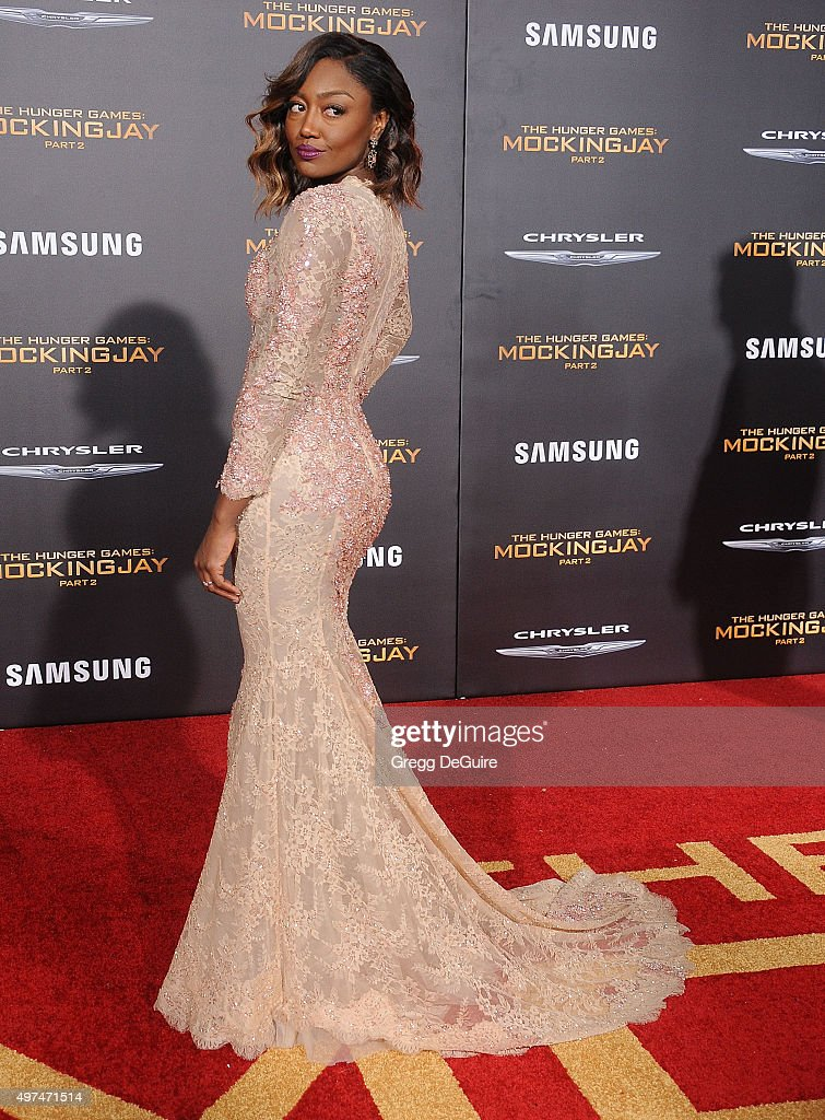 Actress Patina Miller arrives at the premiere of Lionsgate's 'The Hunger Games Mockingjay Part 2' at Microsoft Theater on November 16 2015 in Los...