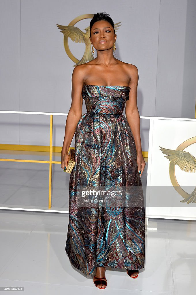 Actress Patina Miller attends 'The Hunger Games Mockingjay Part 1' Los Angeles Premiere at Nokia Theatre LA Live on November 17 2014 in Los Angeles...