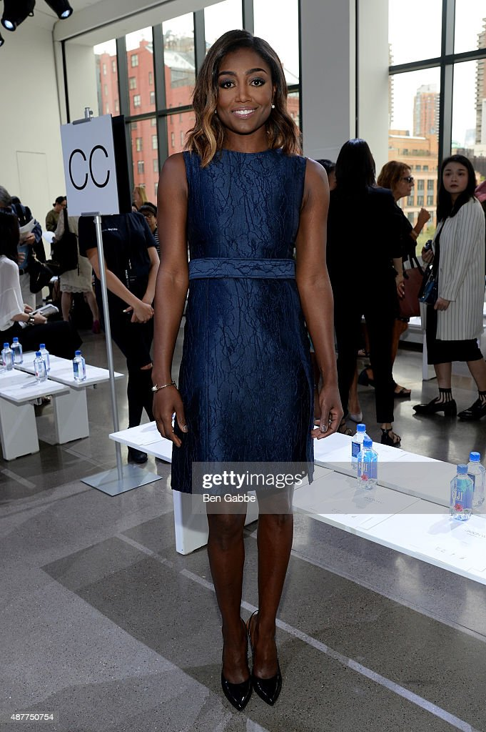Actress Patina Miller attends the Jason Wu fashion show during Spring 2016 New York Fashion Week at Spring Studios on September 11 2015 in New York...
