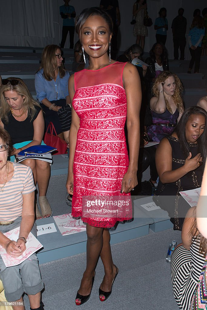 Actress Patina Miller attends the Tadashi Shoji show during Spring 2014 Mercedes-Benz Fashion Week at The Stage at Lincoln Center on September 5, 2013 in New York City.