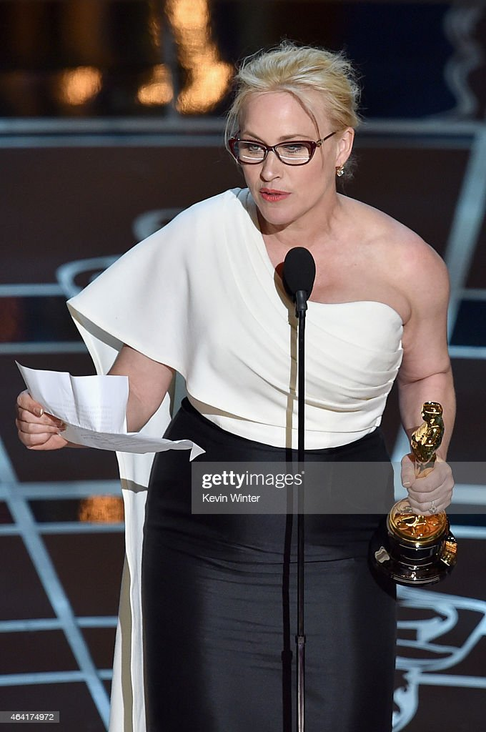 Actress Patricia Arquette accepts the award for Best Actress in a Supporting Role for 'Boyhood' during the 87th Annual Academy Awards at Dolby Theatre on February 22, 2015 in Hollywood, California.