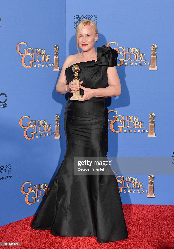 Actress Patricia Arquette poses in the press room during the 72nd Annual Golden Globe Awards at The Beverly Hilton Hotel on January 11 2015 in...