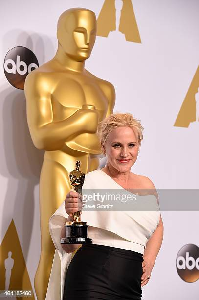 Actress Patricia Arquette poses in the press room during the 87th Annual Academy Awards at Loews Hollywood Hotel on February 22 2015 in Hollywood...