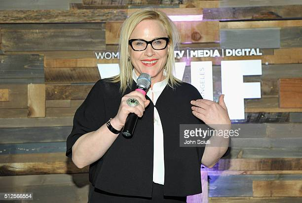Actress Patricia Arquette speaks onstage during Ninth Annual Women In Film PreOscar Cocktail Party presented by Max Mara BMW MAC Cosmetics and...