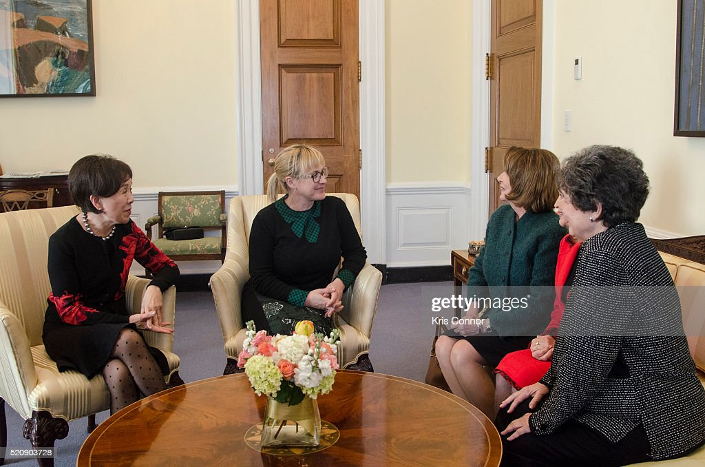 Actress <a gi-track='captionPersonalityLinkClicked' href=/galleries/search?phrase=Patricia+Arquette&family=editorial&specificpeople=206197 ng-click='$event.stopPropagation()'>Patricia Arquette</a> speaks with House Democratic Leader <a gi-track='captionPersonalityLinkClicked' href=/galleries/search?phrase=Nancy+Pelosi&family=editorial&specificpeople=169883 ng-click='$event.stopPropagation()'>Nancy Pelosi</a>, Rep. Carolyn Maloney (D-NY), Rep. <a gi-track='captionPersonalityLinkClicked' href=/galleries/search?phrase=Doris+Matsui&family=editorial&specificpeople=2631068 ng-click='$event.stopPropagation()'>Doris Matsui</a> (D-CA) and Rep. Lois Frankel (D-FL) during a 'When Women Succeed, America Succeeds' discussion at the US Capitol on April 13, 2016 in Washington, DC.