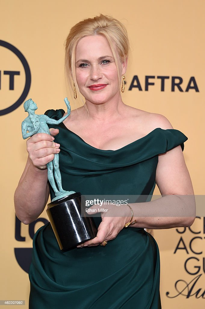 Actress Patricia Arquette, winner of Outstanding Performance by a Female Actor in a Supporting Role for 'Boyhood,' poses in the press room at the 21st Annual Screen Actors Guild Awards at The Shrine Auditorium on January 25, 2015 in Los Angeles, California.