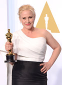 Actress Patricia Arquette with the award for best actress in a supporting role for 'Boyhood' poses in the press room during the 87th Annual Academy...