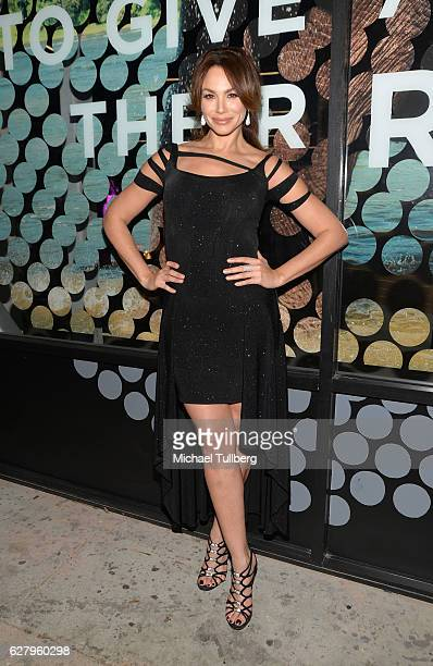 Actress Patricia de Leon attends the unveiling of Jhene Aiko's 'Rather Go Naked Than Wear Fur' ad at the opening night of PETA's 'Naked Ambition...