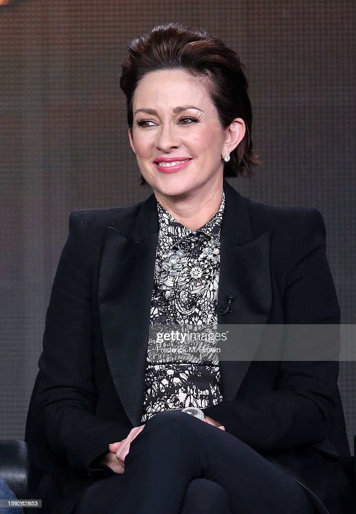 Actress <a gi-track='captionPersonalityLinkClicked' href=/galleries/search?phrase=Patricia+Heaton&family=editorial&specificpeople=173459 ng-click='$event.stopPropagation()'>Patricia Heaton</a> of 'the middle' speaks onstage during the ABC portion of the 2013 Winter TCA Tour at Langham Hotel on January 10, 2013 in Pasadena, California.